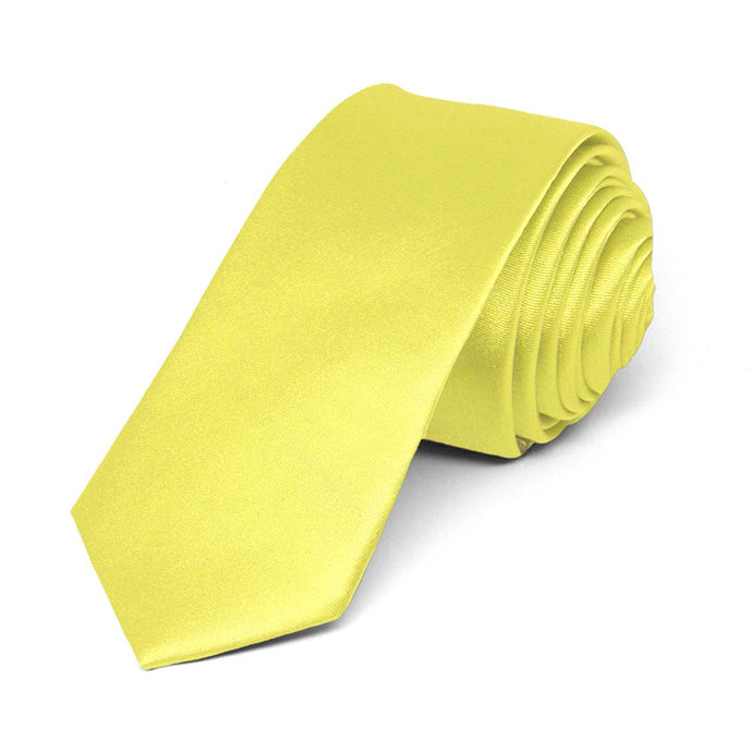 Daffodil Yellow Skinny Solid Color Necktie, 2