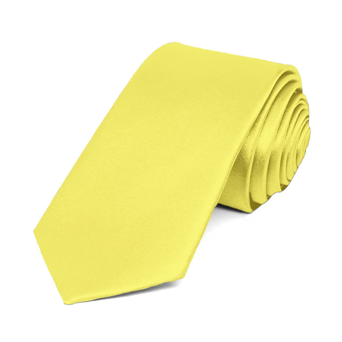 Daffodil Yellow Slim Solid Color Necktie, 2.5