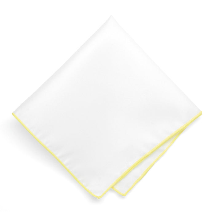 Daffodil Yellow Tipped White Pocket Square