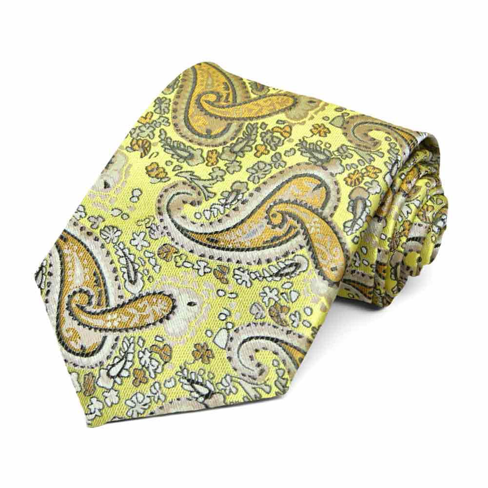 Daffodil Yellow Spencer Paisley Necktie