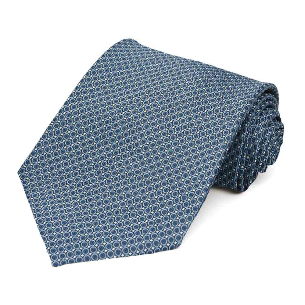 Dark Blue Henry Grain Pattern Extra Long Necktie