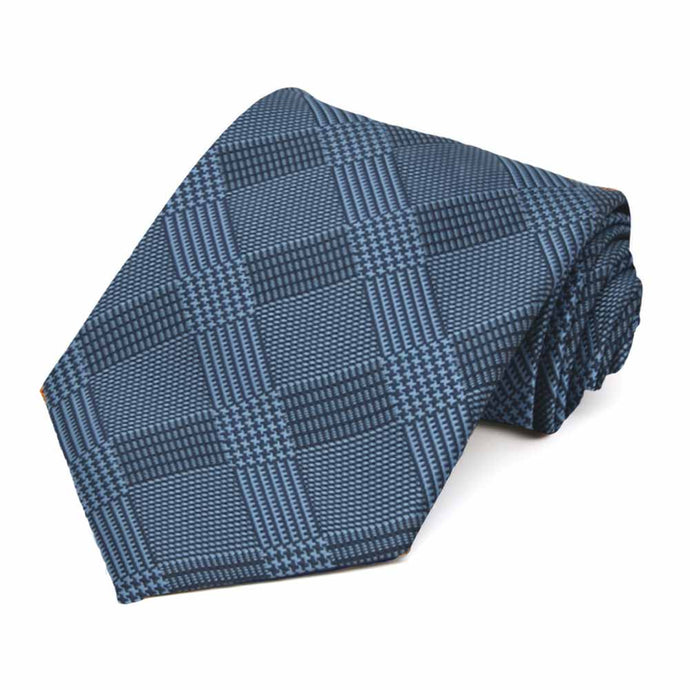 Dark Blue Michael Glen Plaid Extra Long Necktie