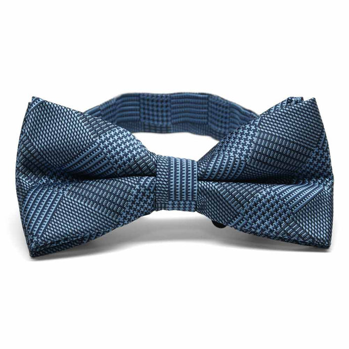 Dark Blue Michael Glen Plaid Band Collar Bow Tie