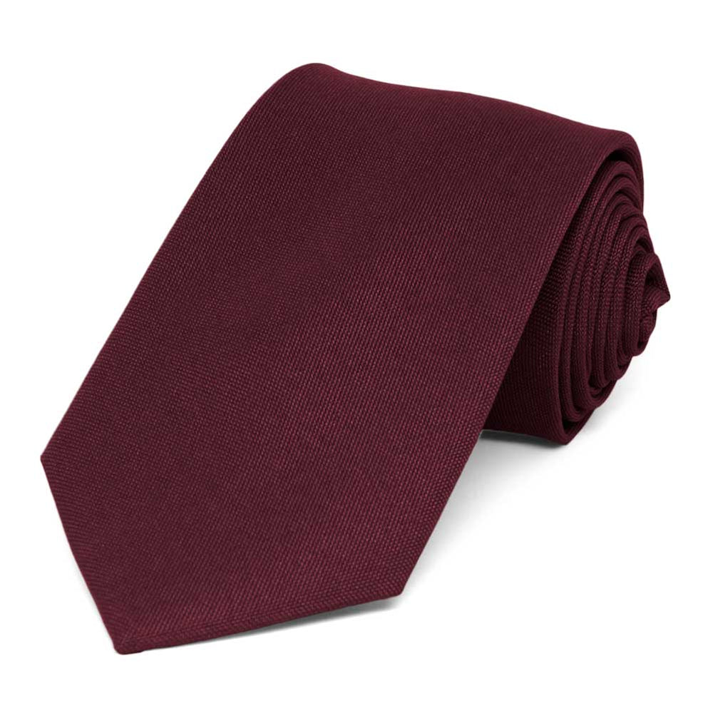 Dark Burgundy Matte Finish Extra Long Necktie, 3