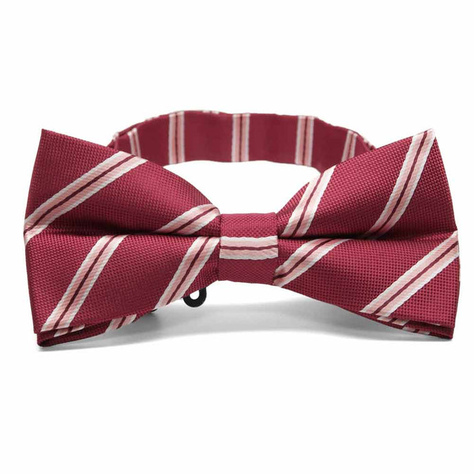 Burgundy Melvin Stripe Band Collar Bow Tie