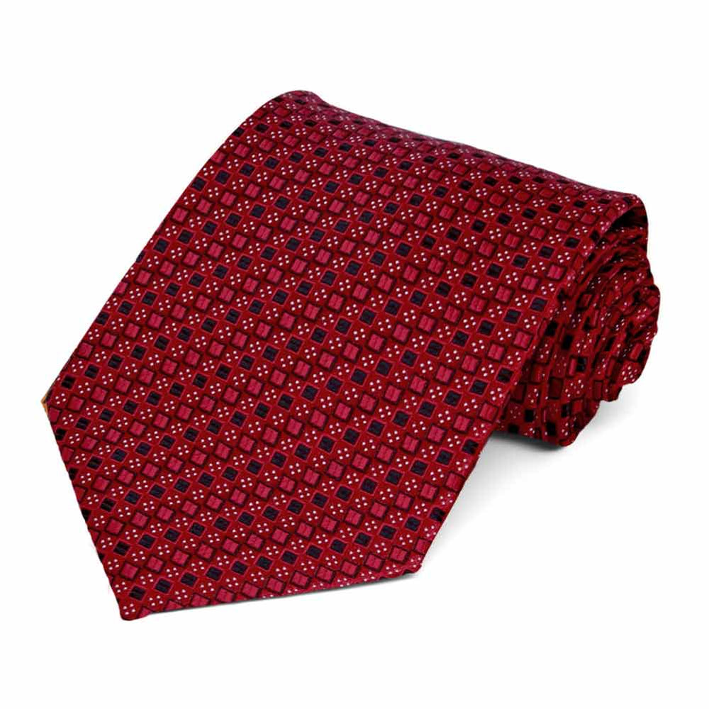 Crimson Red Marie Square Pattern Necktie
