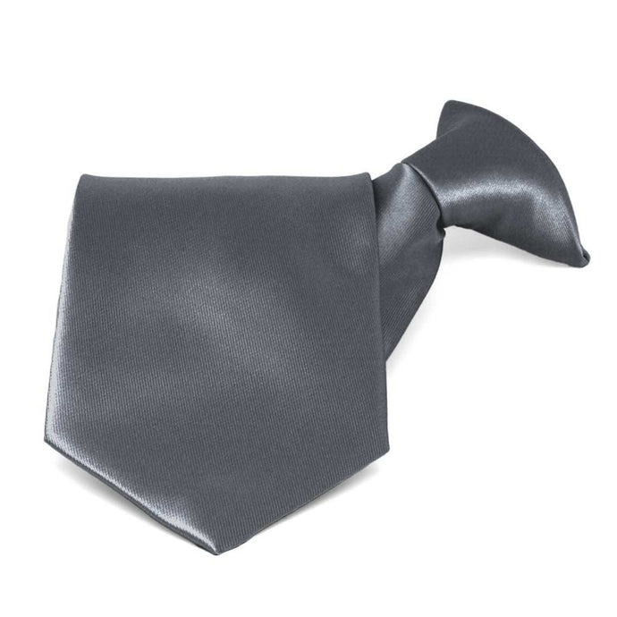 Dark Gray Solid Color Clip-On Tie