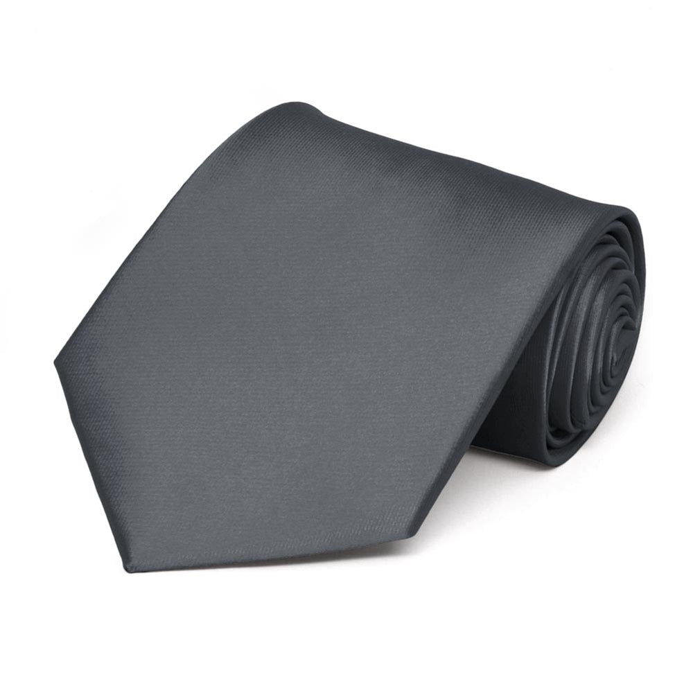 Dark Gray Solid Color Necktie