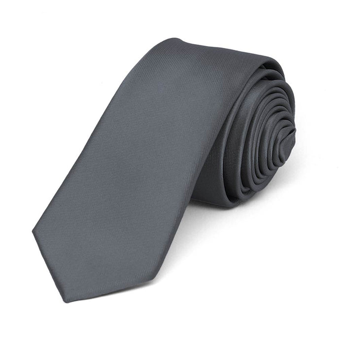 Dark Gray Skinny Solid Color Necktie, 2