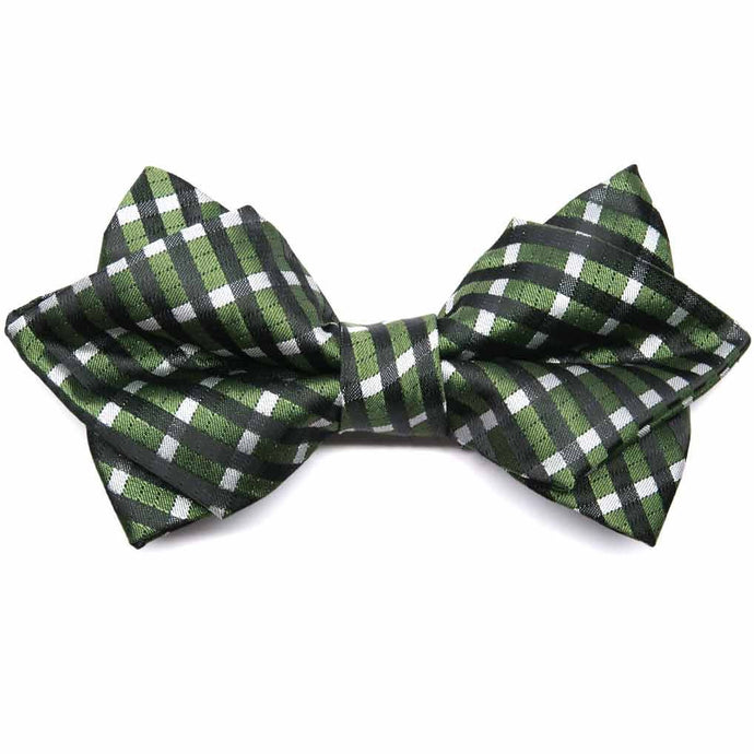 Dark Green George Plaid Diamond Tip Bow Tie