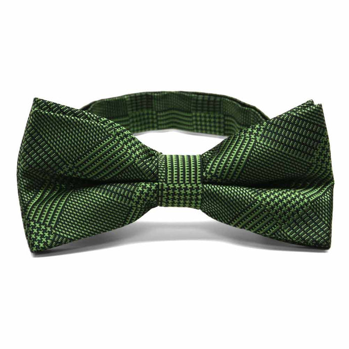 Dark Green Michael Glen Plaid Band Collar Bow Tie