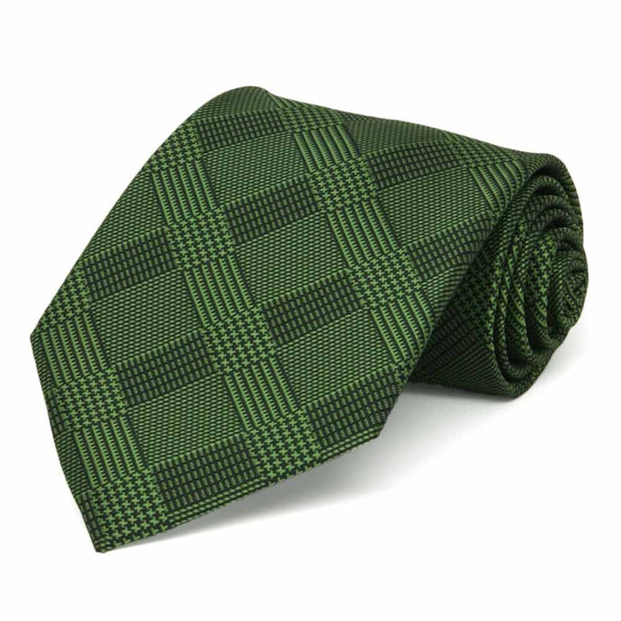 Dark Green Michael Glen Plaid Extra Long Necktie
