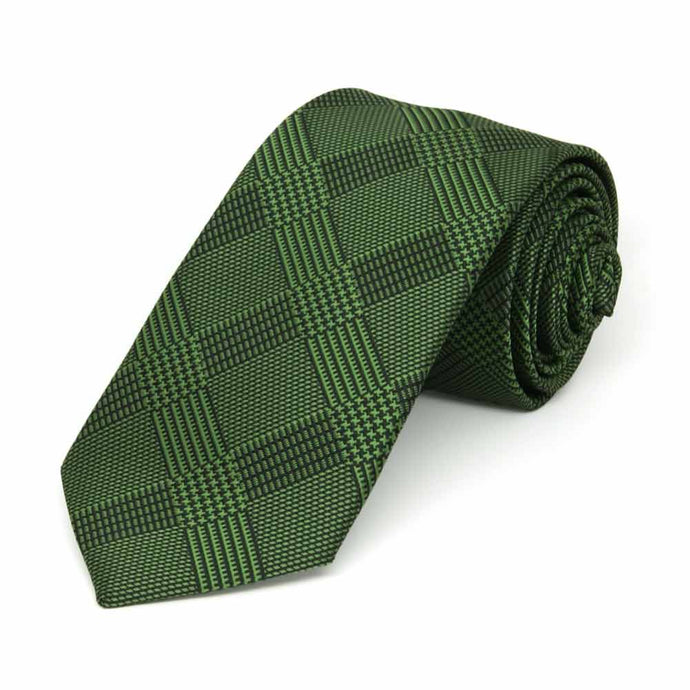 Dark Green Michael Glen Plaid Slim Necktie, 2.5