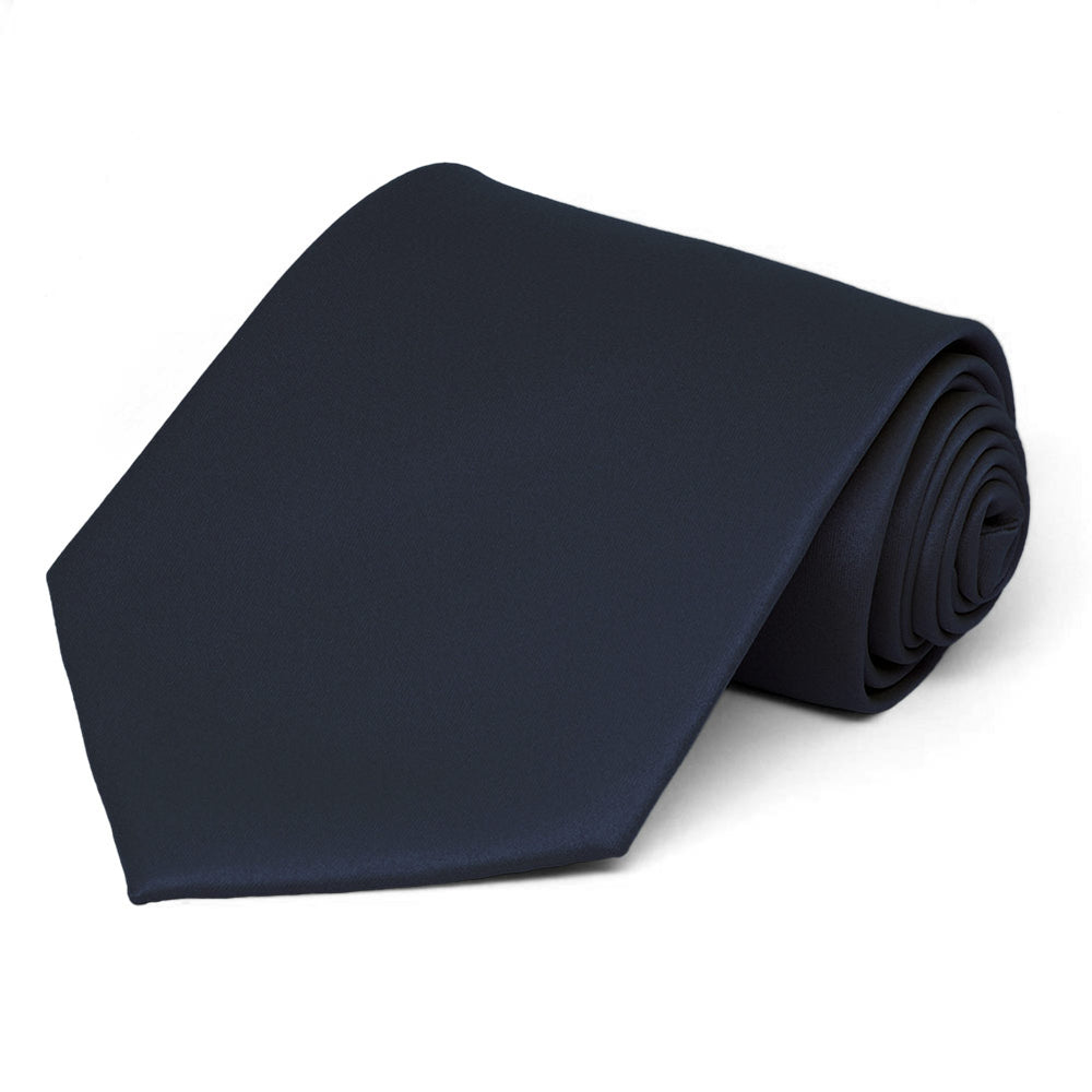 Dark Navy Blue Solid Color Necktie