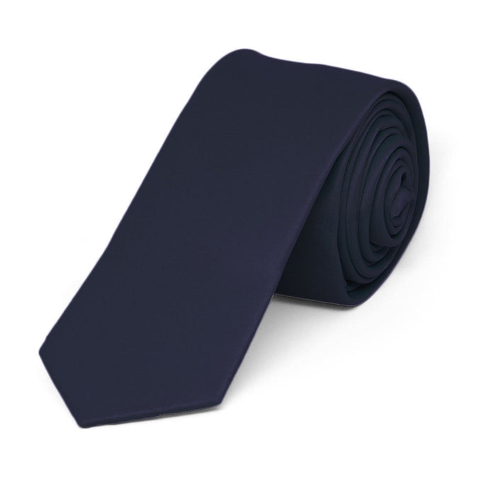 Dark Navy Blue Skinny Solid Color Necktie, 2
