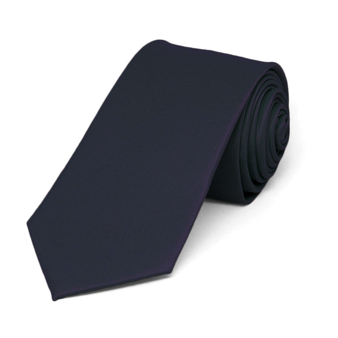 Dark Navy Blue Slim Solid Color Necktie, 2.5