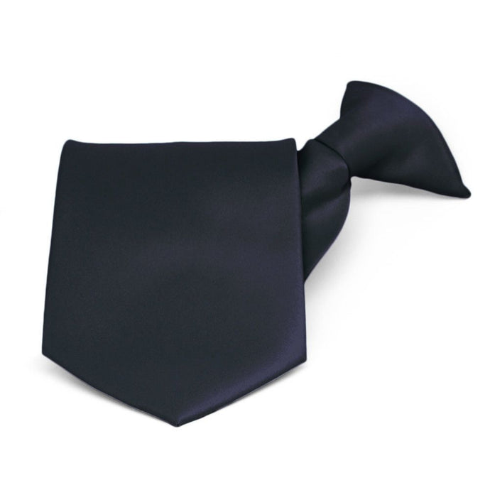 Dark Navy Blue Solid Color Clip-On Tie