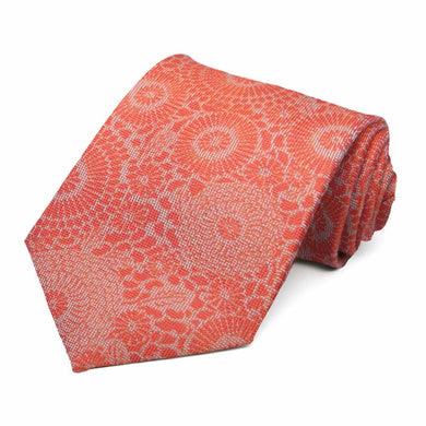 Dark Orange Ranger Floral Cotton/Silk Necktie