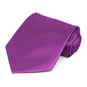 Dark Orchid Extra Long Solid Color Necktie