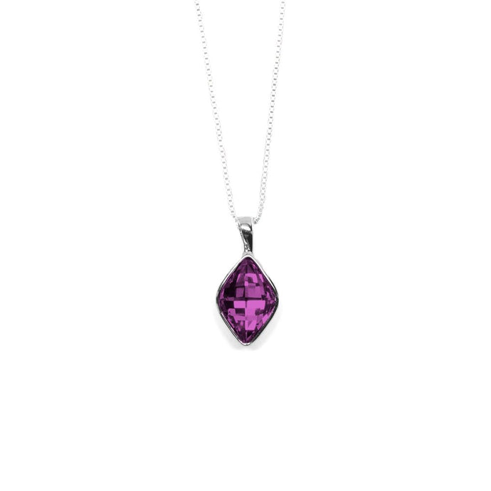 Dark Orchid Rhombus Shaped Crystal Necklace