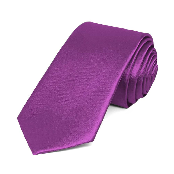 Dark Orchid Slim Solid Color Necktie, 2.5