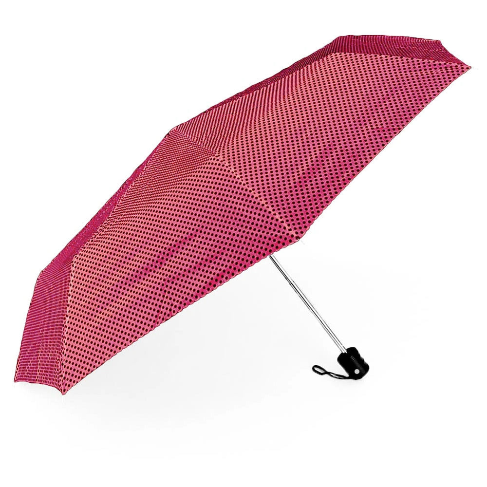 Pink and black polka dot umbrella