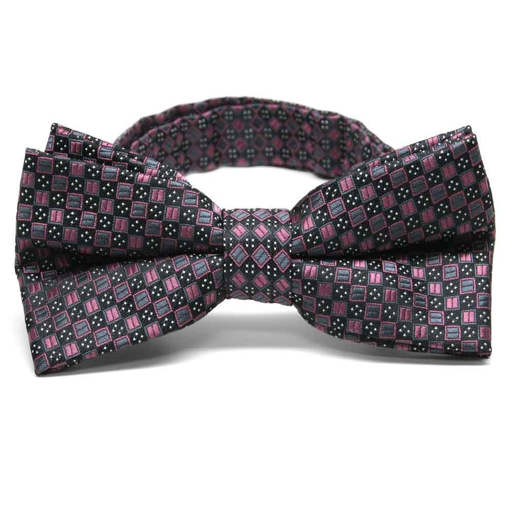Dark Pink Marie Square Pattern Band Collar Bow Tie