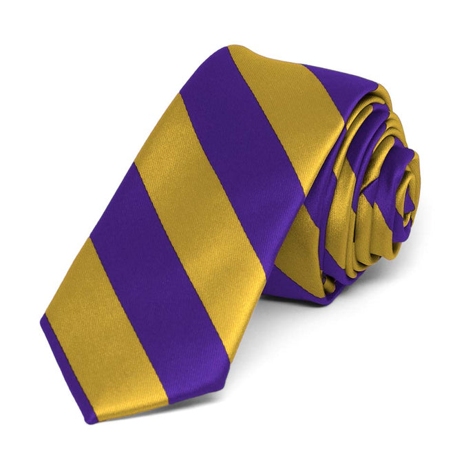 Dark Purple and Gold Striped Skinny Tie, 2