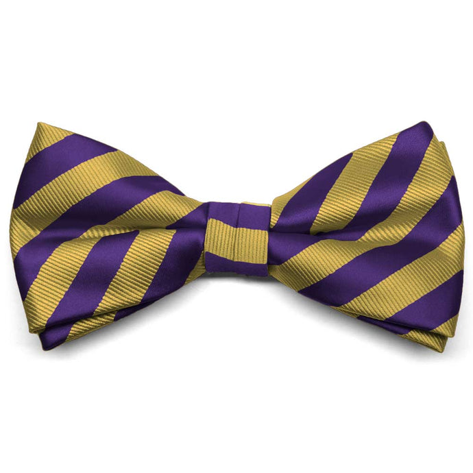 Dark Purple and Gold Formal Striped Bow Tie