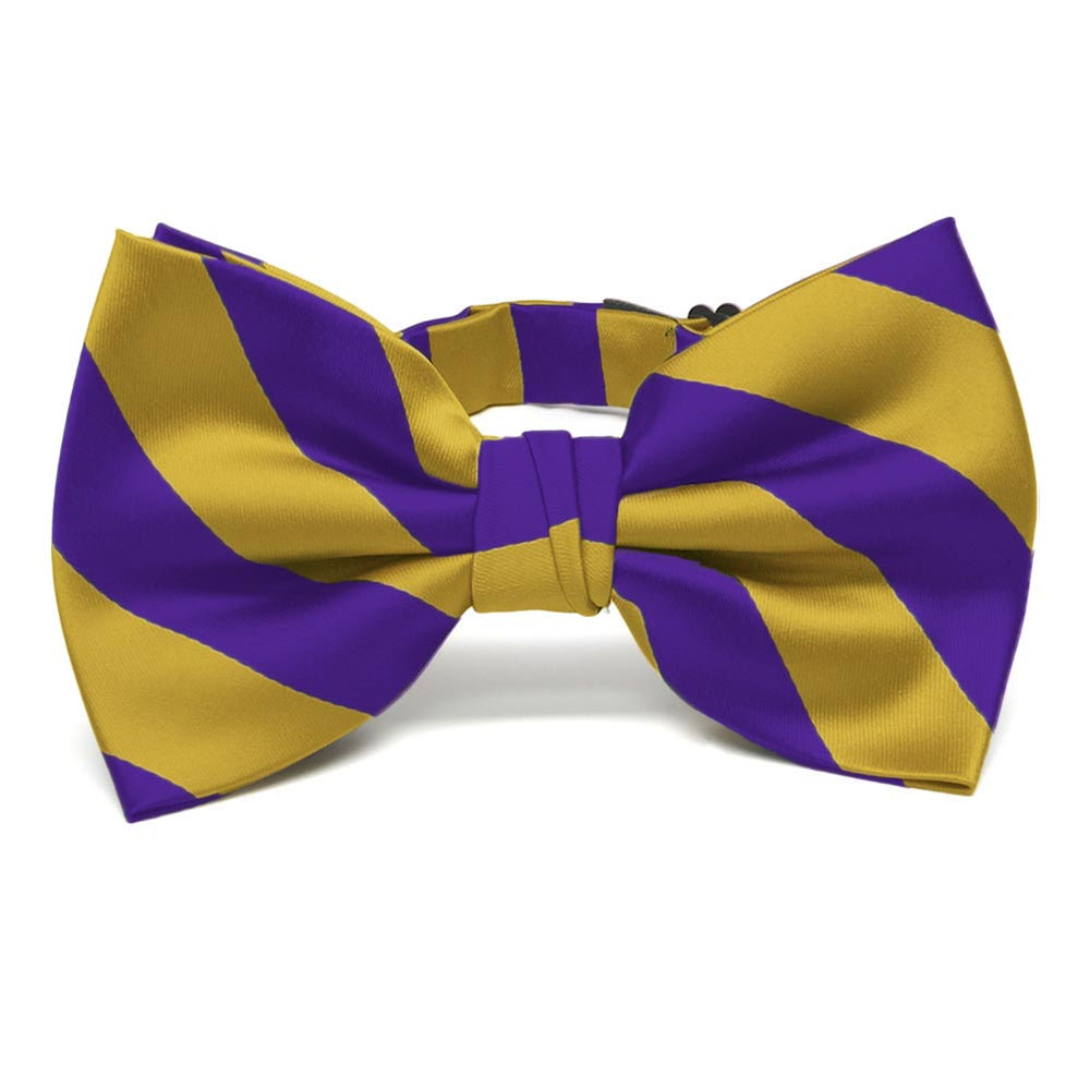Dark Purple and Gold Striped Bow Tie