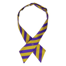 Load image into Gallery viewer, Dark purple and gold striped crossover tie pointed down