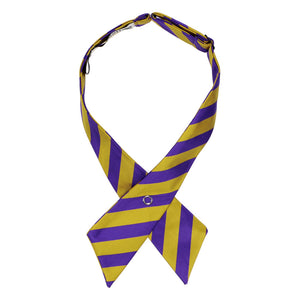 Dark purple and gold striped crossover tie pointed down