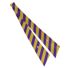 Load image into Gallery viewer, Dark purple and gold striped crossover tie unsnapped