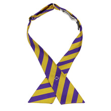 Load image into Gallery viewer, Dark purple and gold striped crossover tie