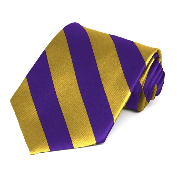 Dark Purple and Gold Extra Long Striped Tie