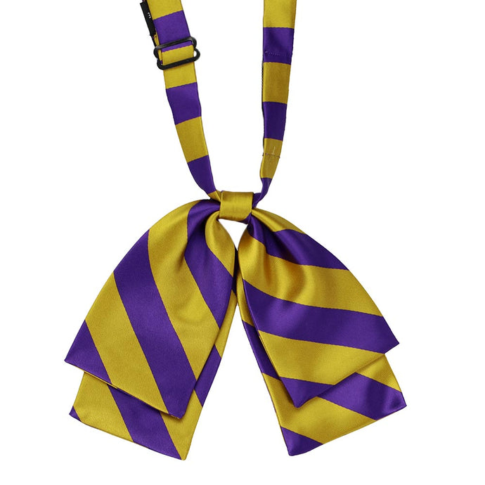 Dark purple and gold striped floppy bow tie