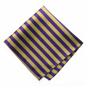 Dark Purple and Gold Formal Striped Pocket Square