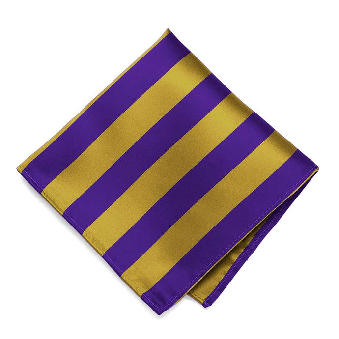 Dark Purple and Gold Striped Pocket Square
