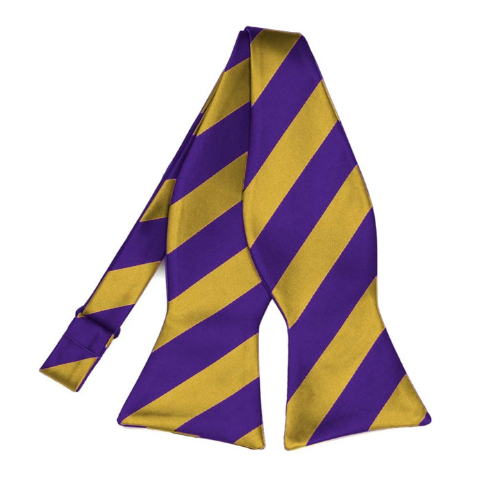 Dark Purple and Gold Striped Self-Tie Bow Tie