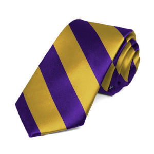 "Dark Purple and Gold Striped Slim Tie, 2.5"" Width"