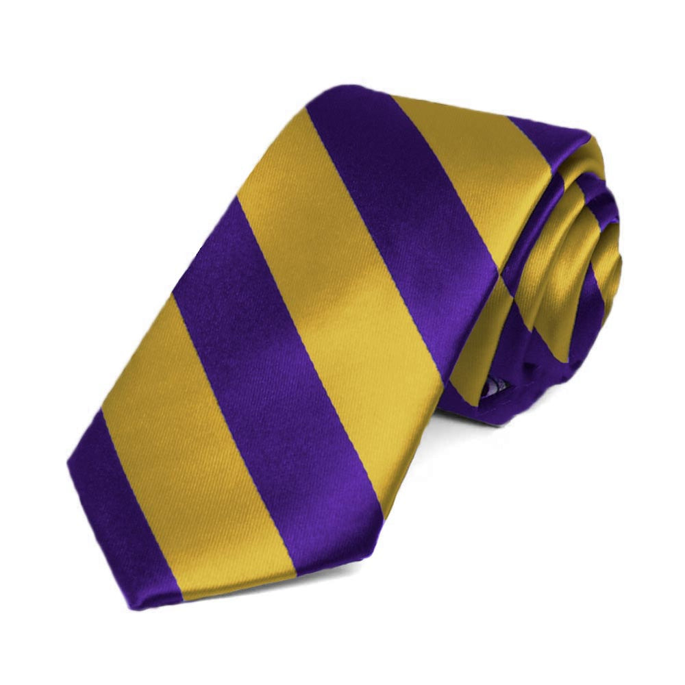 Dark Purple and Gold Striped Slim Tie, 2.5