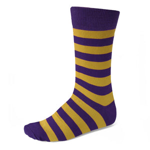 Men's Dark Purple and Gold Striped Socks