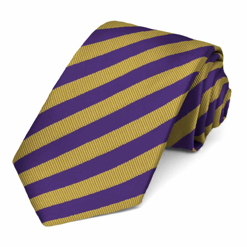 Dark Purple and Gold Formal Striped Tie