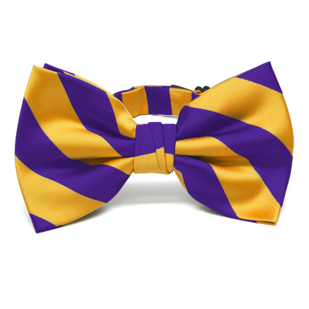 Dark Purple and Golden Yellow Striped Bow Tie