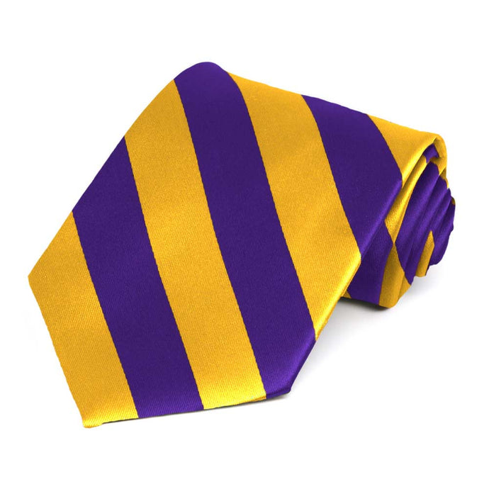 Dark Purple and Golden Yellow Extra Long Striped Tie