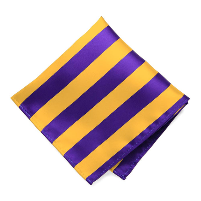 Dark Purple and Golden Yellow Striped Pocket Square
