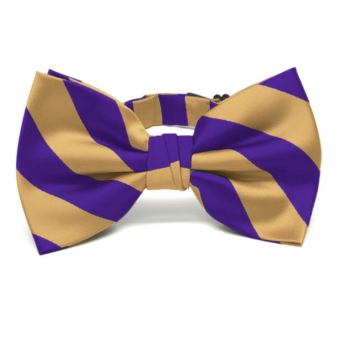 Dark Purple and Honey Gold Striped Bow Tie