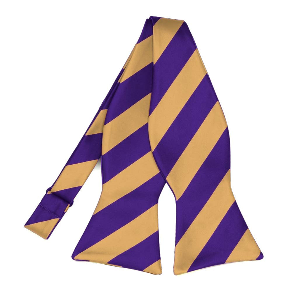 Dark Purple and Honey Gold Striped Self-Tie Bow Tie