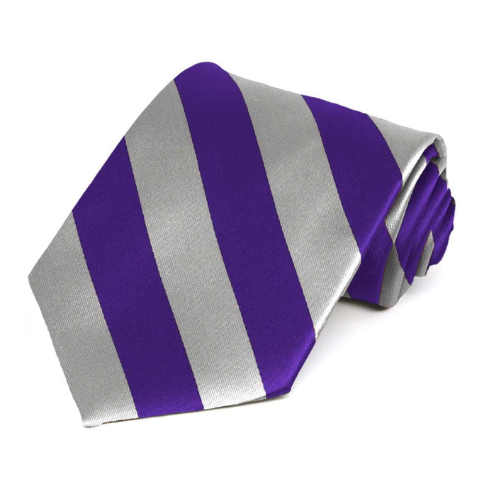 Dark Purple and Silver Striped Tie