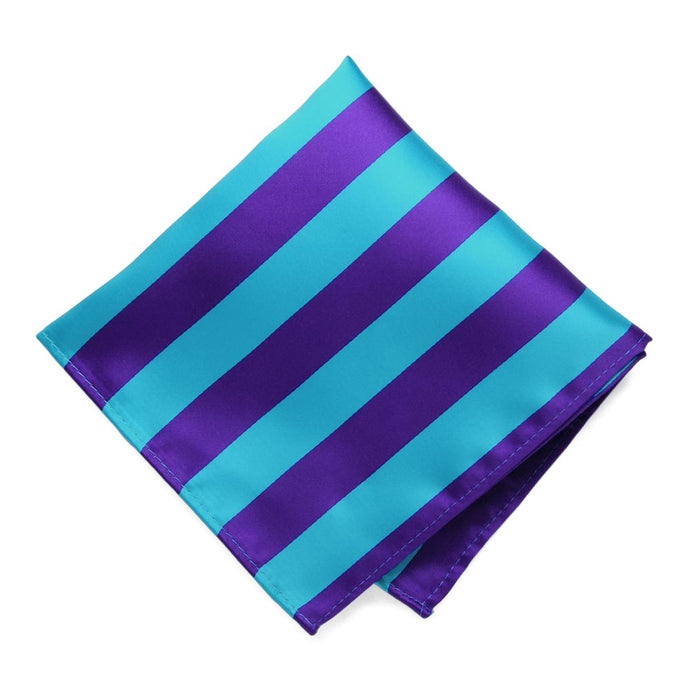 Dark Purple and Turquoise Striped Pocket Square